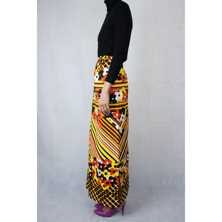 Lanvin printed cotton piqué  maxi skirt, circa 1970 In Excellent Condition For Sale In London, GB
