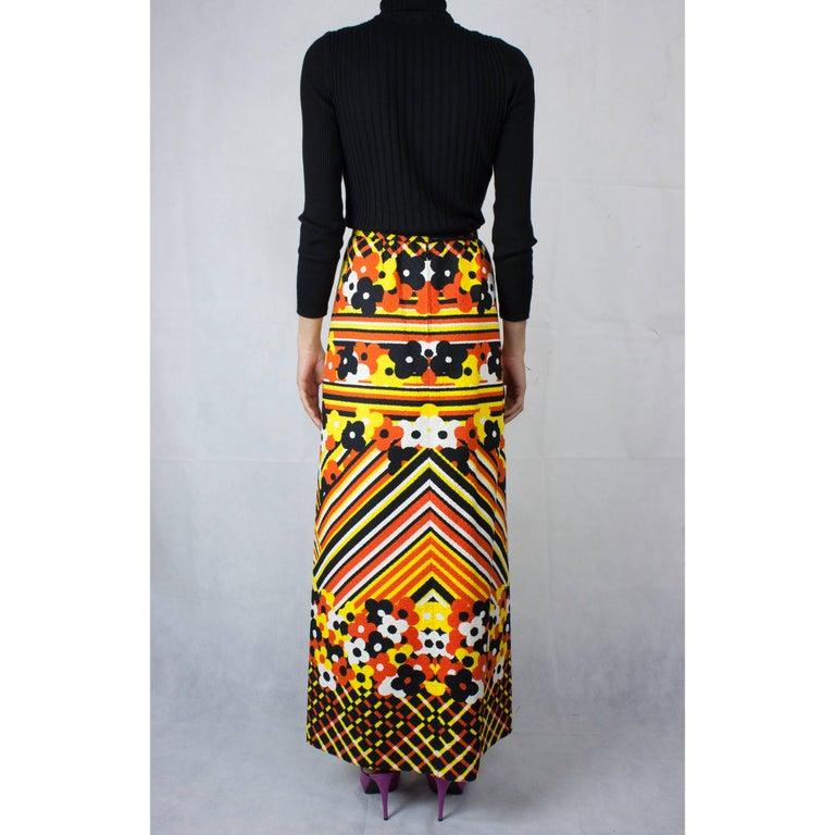 Women's Lanvin printed cotton piqué  maxi skirt, circa 1970 For Sale