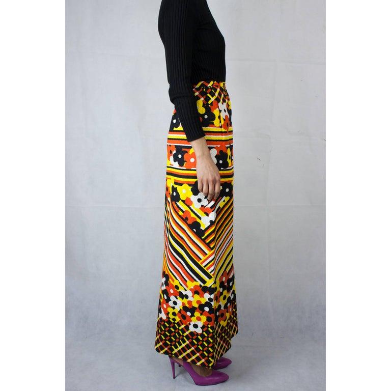 Lanvin printed cotton piqué  maxi skirt, circa 1970 For Sale 1