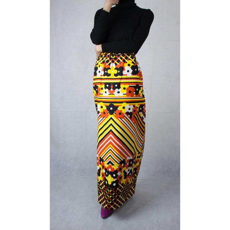 Lanvin printed cotton piqué  maxi skirt, circa 1970 For Sale 2