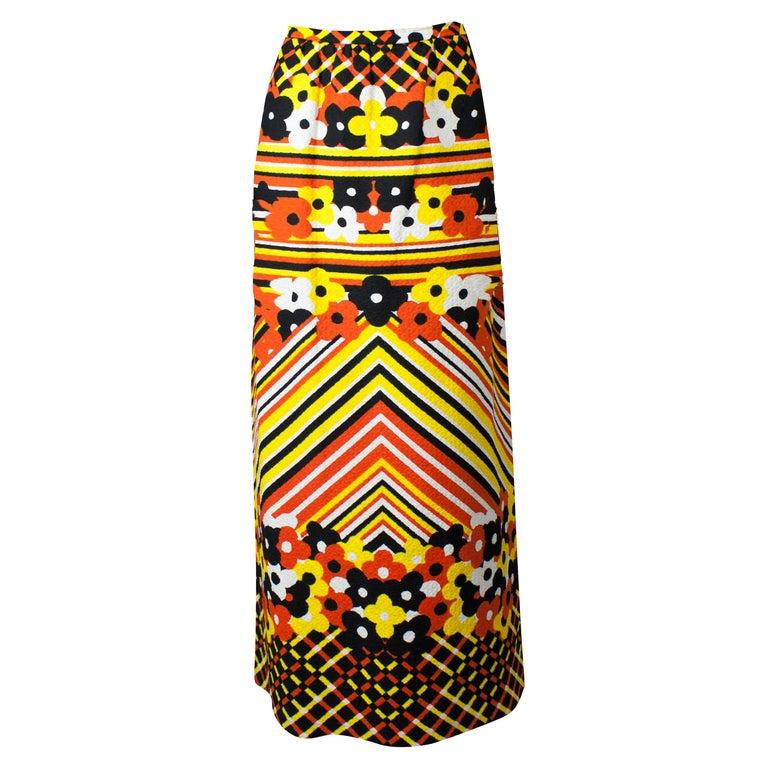 Lanvin printed cotton piqué  maxi skirt, circa 1970 For Sale