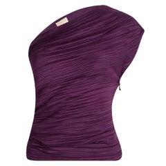 Lanvin Purple Crinkled One Shoulder Top S