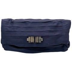 Lanvin Purple Pleated & Black Satin Silk w/ Art Deco Style Metal Accent Clutch
