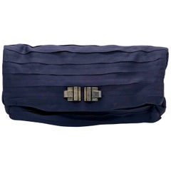 Lanvin Purple Pleated & Black Satin Silk w/ Art Deco Style Metal Accent Clutch