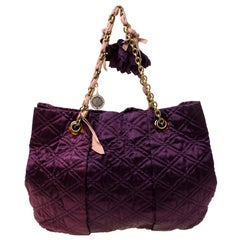 Lanvin Purple Quilted Satin Large Pleated Hobo