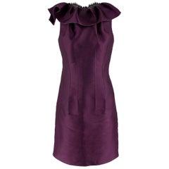 Lanvin Purple Ruffled Silk Blend Duchesse & Lace Dress estimated size M