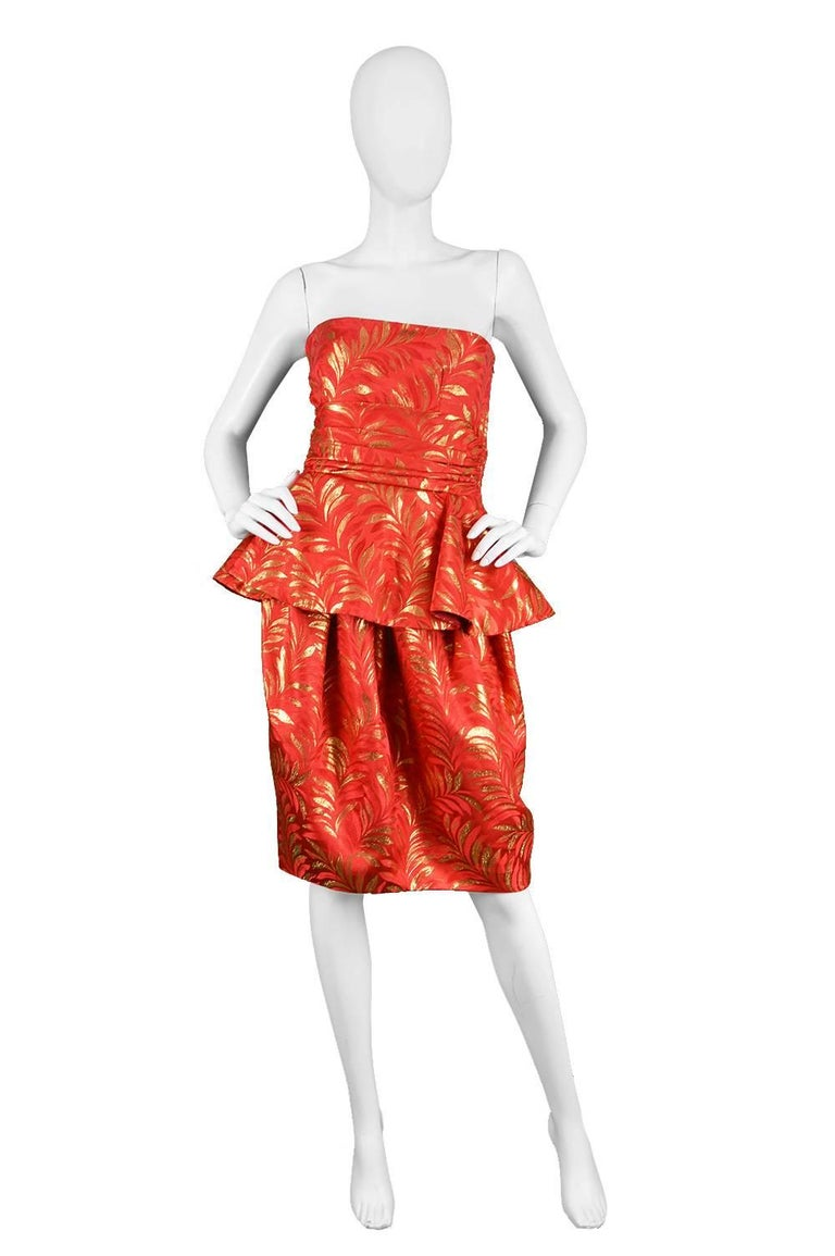 Lanvin Red And Gold Silk Brocade Peplum Vintage Cocktail