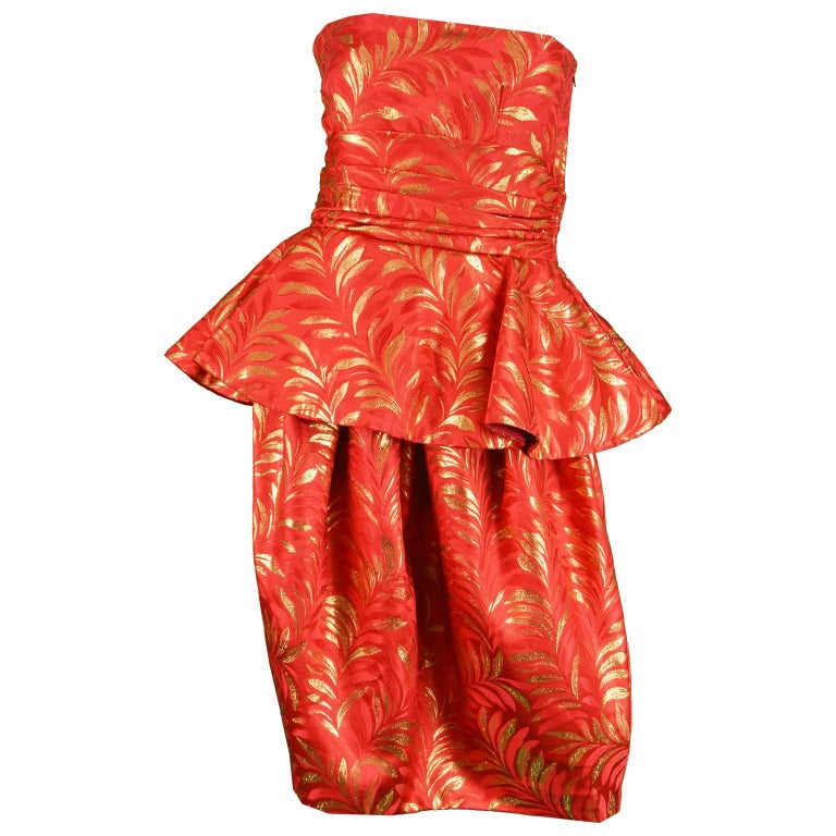 Lanvin Red & Gold Silk Brocade Peplum Vintage Cocktail Evening Dress, 1980s
