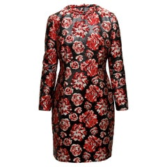 Lanvin Red & Black Floral Shift Dress