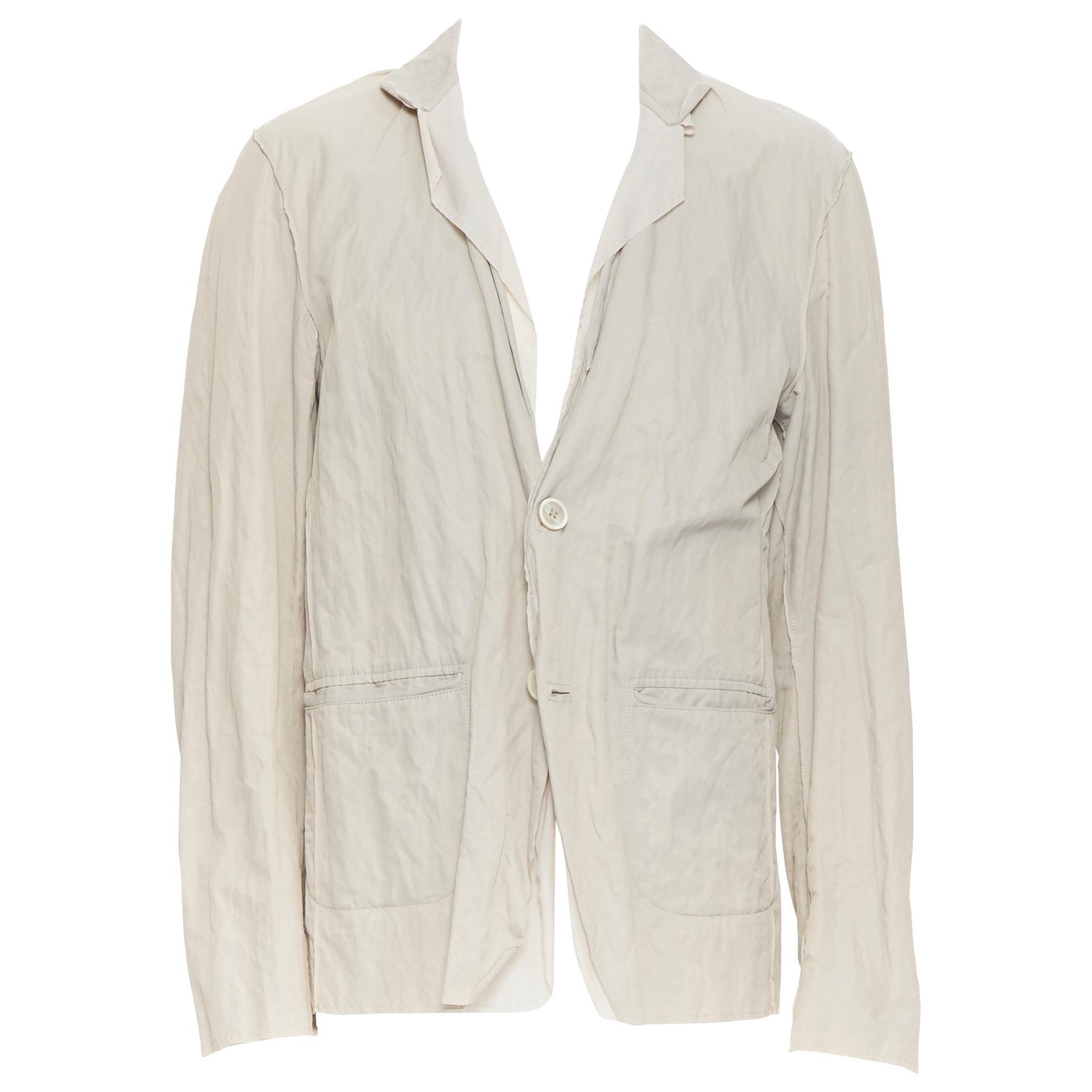 LANVIN Runway light stone coated cotton raw seam summer blazer jacket EU50 L