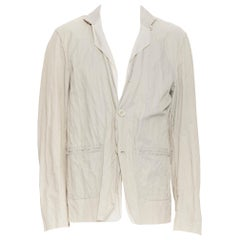 LANVIN Runway light stone coated cotton raw seam summer blazer jacket EU50 L