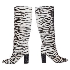 Lanvin Runway Zebra Print Boots Black Jeweled Resin Heels,  Pre-Fall 2010