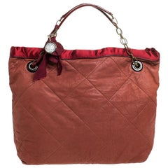 Lanvin Rust/Red Leather/Satin and Patent Leather Amalia Cabas Tote