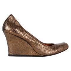 Lanvin Shoe Wedge Bronze Metallic Pump 38.5 / 8.5 New