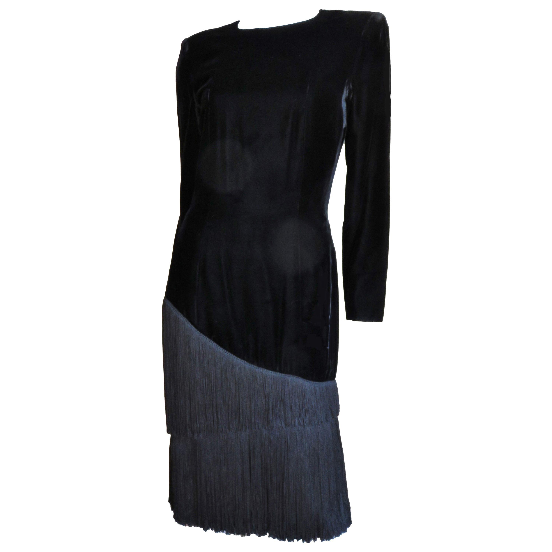 Lanvin Silk Fringe Velvet Dress 1980s