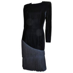 Lanvin Silk Fringe Velvet Dress 1980s