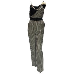 Lanvin Silk Pin-Striped Ensemble with Chain and Flower Bro
