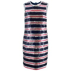 Lanvin Silk Sequin Stripe Shift Dress