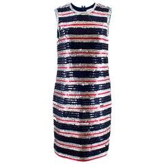 Lanvin Silk Sequin Stripe Shift Dress - Size Medium