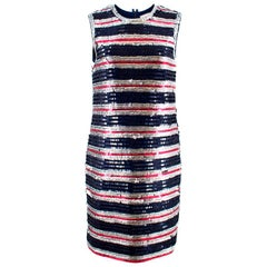 Lanvin Silk Sequin Stripe Shift Dress US 8
