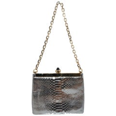 Lanvin Silver Snakeskin Evening Bag
