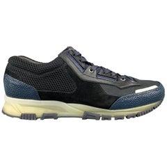 LANVIN Size 10 Black & Blue Color Block Refective Lace Up Sneakers