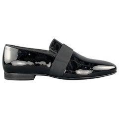 LANVIN Size 10 Black Patent Leather Tuxedo Slipper Loafers