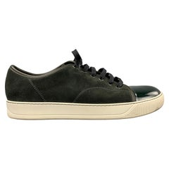 LANVIN Size 10 Olive Suede Patent Leather Cap Toe Sneakers