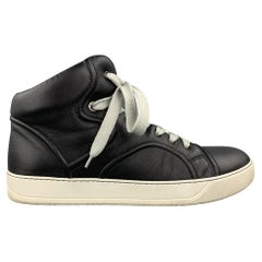 LANVIN Size 11 Black Leather High Top Sneakers