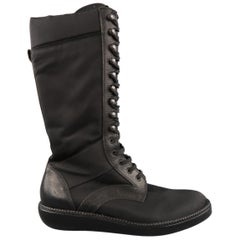 LANVIN Size 11 Black Nylon & Leather Calf High Boots