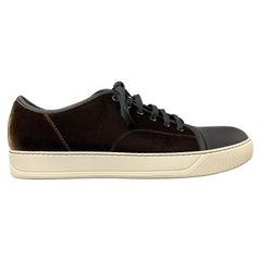 LANVIN Size 11 Brown & Black Color Block Velvet Cap Toe Sneakers
