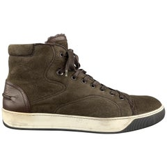 LANVIN Size 11 Brown Mixed Materials Leather High Top Sneakers