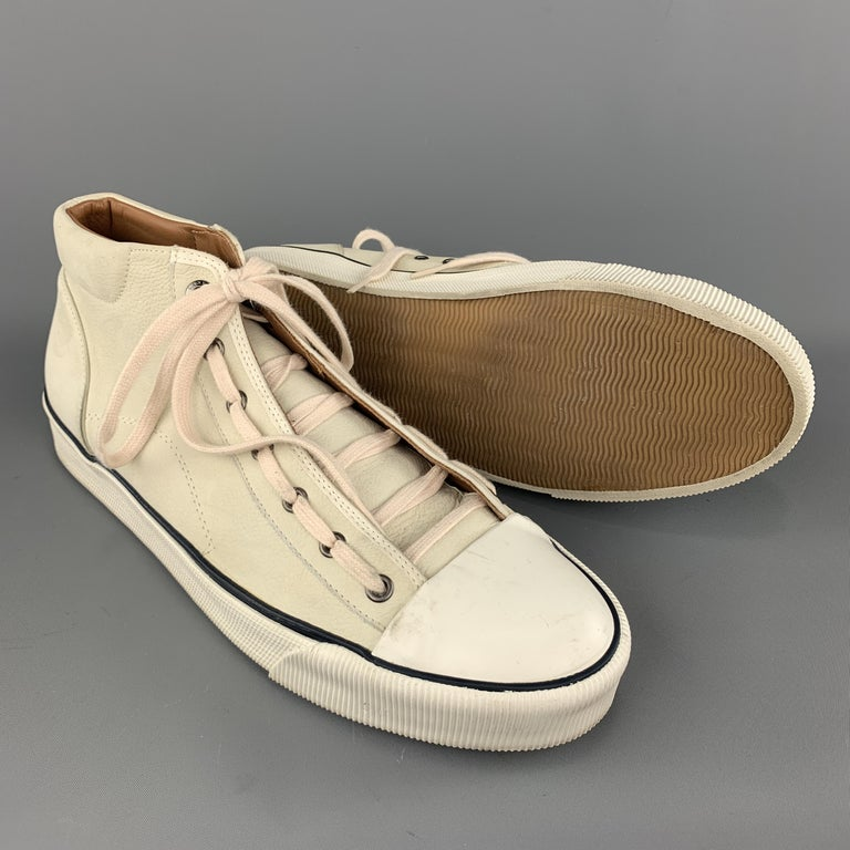 LANVIN Size 11 Cream Beige Leather Lace Up High Top Sneakers In Good Condition For Sale In San Francisco, CA