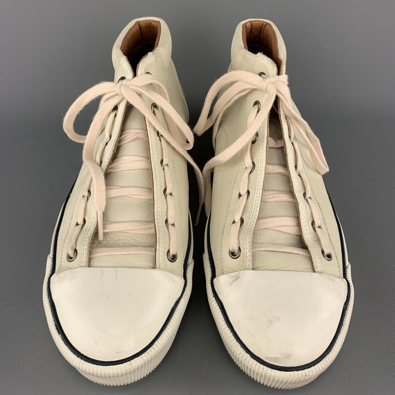 Men's LANVIN Size 11 Cream Beige Leather Lace Up High Top Sneakers For Sale