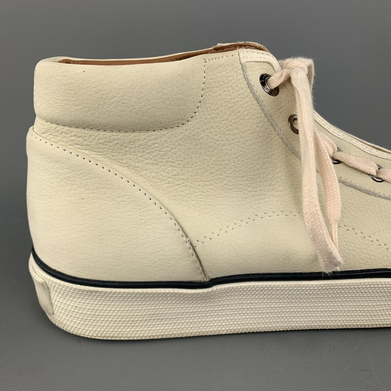 LANVIN Size 11 Cream Beige Leather Lace Up High Top Sneakers For Sale 1