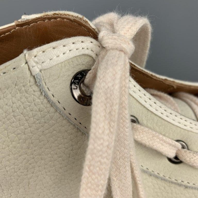LANVIN Size 11 Cream Beige Leather Lace Up High Top Sneakers For Sale 3