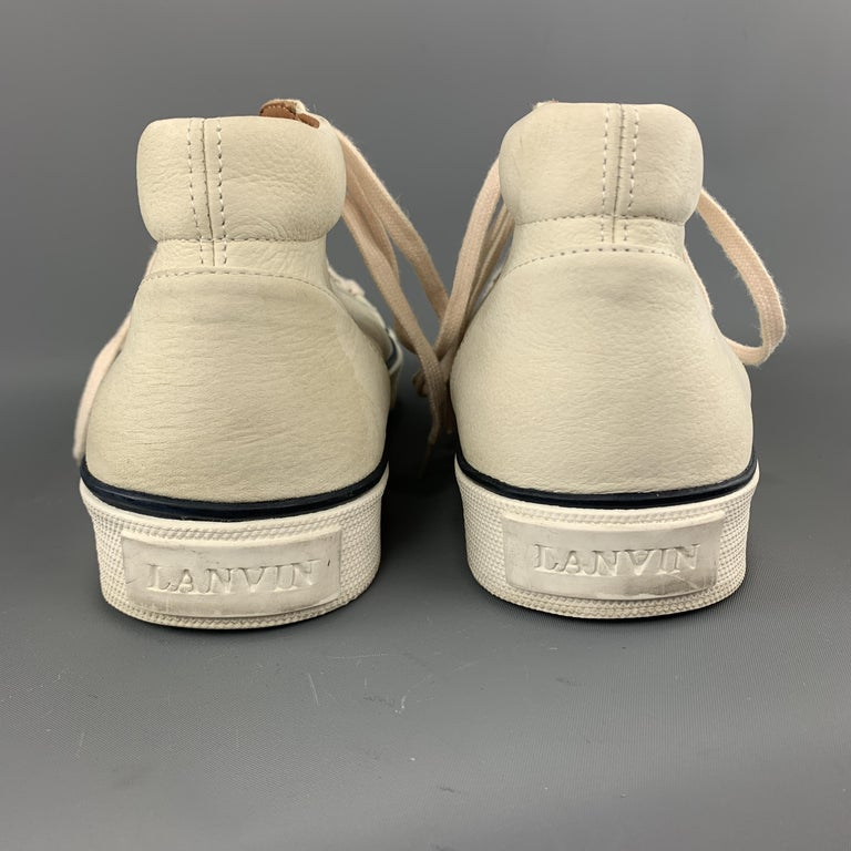 LANVIN Size 11 Cream Beige Leather Lace Up High Top Sneakers For Sale 4