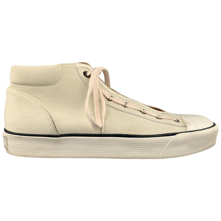 LANVIN Size 11 Cream Beige Leather Lace Up High Top Sneakers For Sale