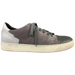 LANVIN Size 11 Gray Suede Lace Up Leather Cap Toe Lace Up Sneakers
