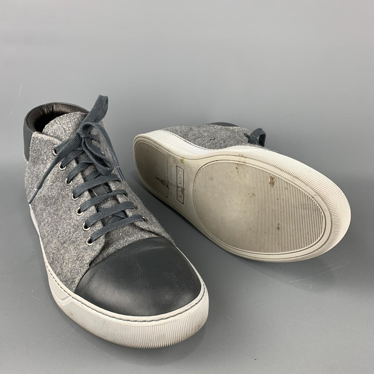 LANVIN Size 11 Gray Wool Lace Up Leather Cap Toe Sneakers In Good Condition For Sale In San Francisco, CA