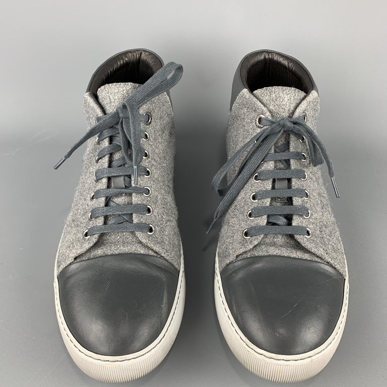 LANVIN Size 11 Gray Wool Lace Up Leather Cap Toe Sneakers For Sale 1