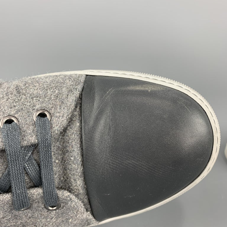 LANVIN Size 11 Gray Wool Lace Up Leather Cap Toe Sneakers For Sale 3