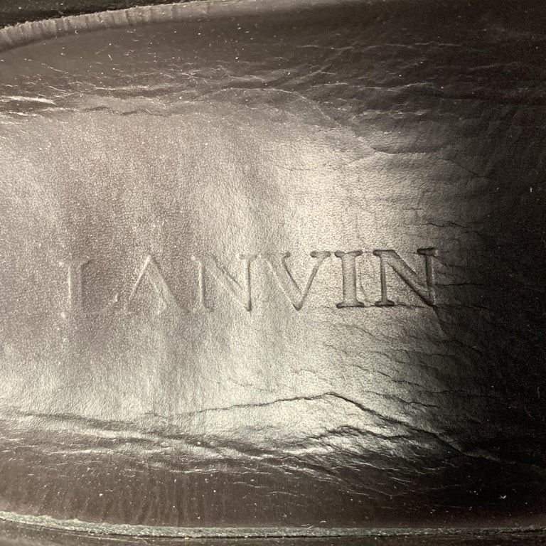 LANVIN Size 11 Gray Wool Lace Up Leather Cap Toe Sneakers For Sale 4
