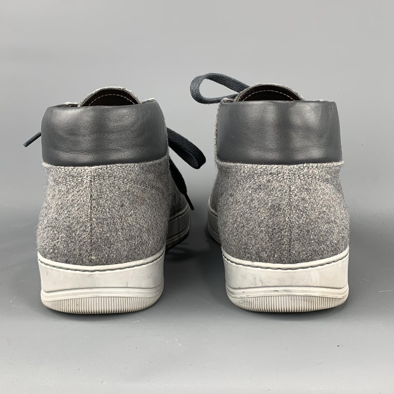 LANVIN Size 11 Gray Wool Lace Up Leather Cap Toe Sneakers For Sale 5