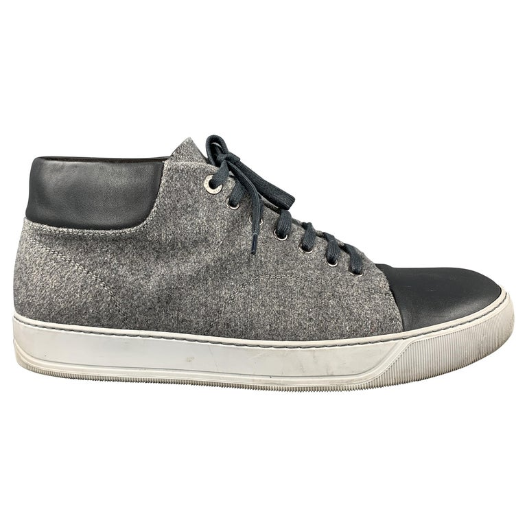 LANVIN Size 11 Gray Wool Lace Up Leather Cap Toe Sneakers For Sale