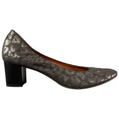 LANVIN Size 12 Grey Jacquard Stacked Pumps