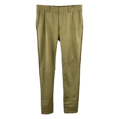 LANVIN Size 30 Olive Solid Cotton Casual Pants