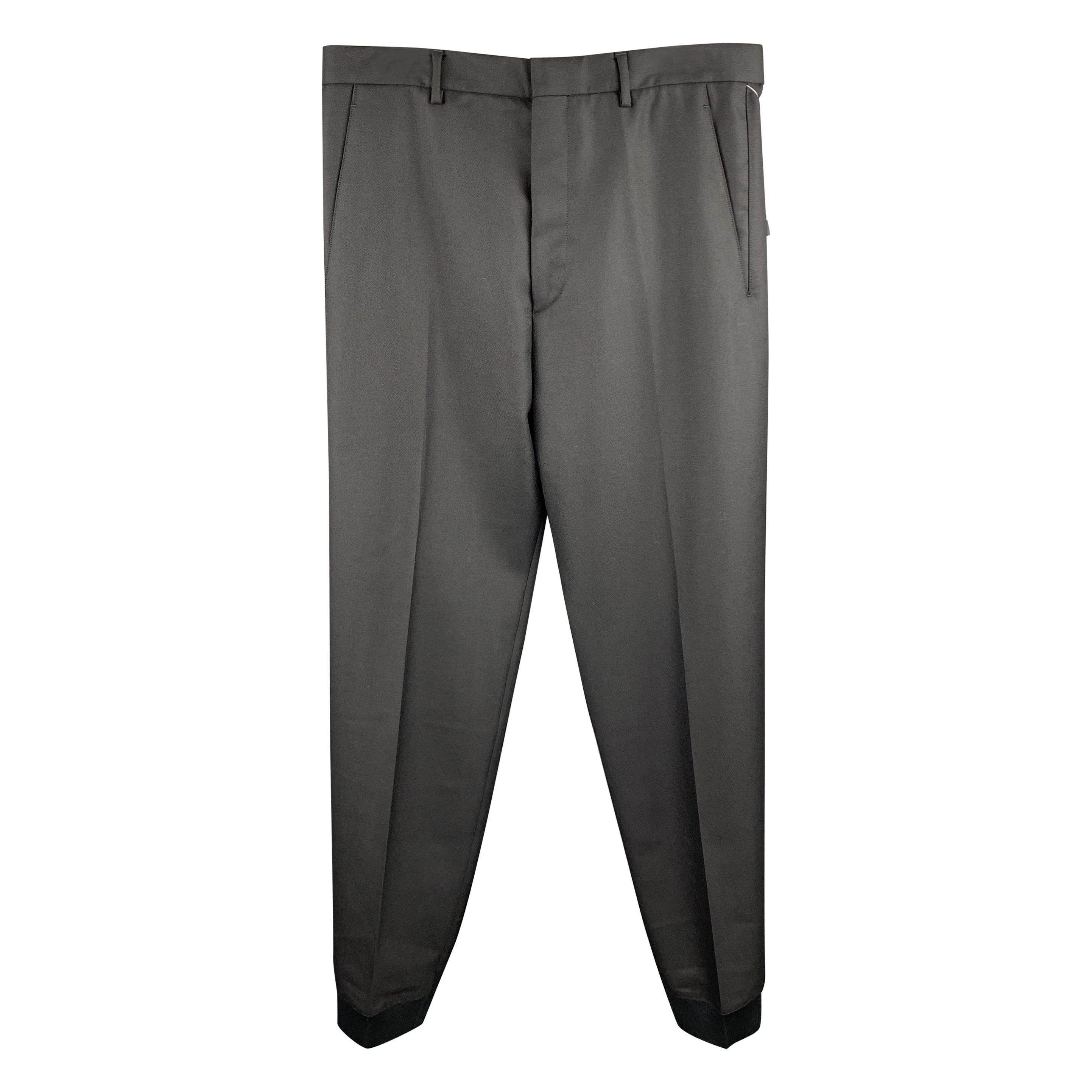 LANVIN Size 32 Black Solid Wool Elastic Cuffs Casual Pants