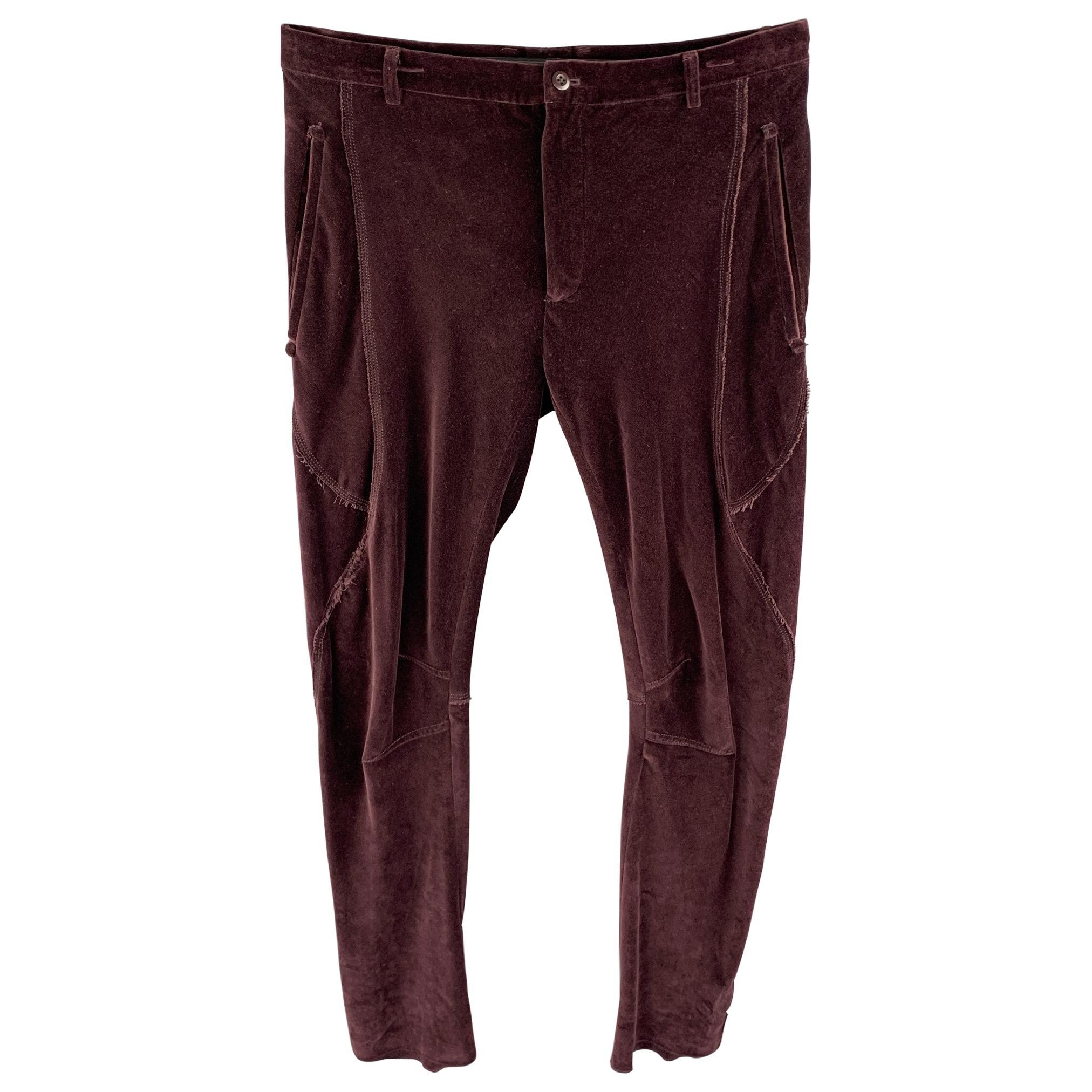 LANVIN Size 32 Burgundy Solid Cotton Velvet Zip Up Casual Pants
