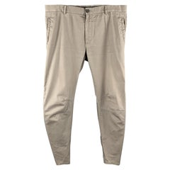 LANVIN Size 32 Gray Solid Cotton Zip Fly Casual Pants